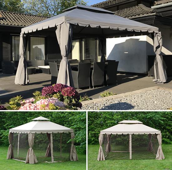 En elegant paviljong som et vakkert samlingssted i hagen